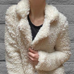 Teddy Coat in Cream Shaggy Faux Shearling